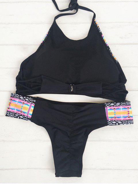 women's Halter Tribal Bikini Set - BLACK M Mobile