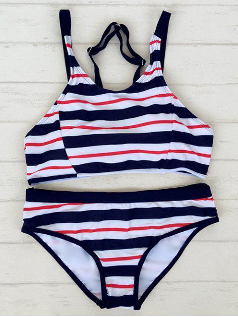 fancy Striped Adjustable Straps Sporty Bikini - STRIPE L Mobile