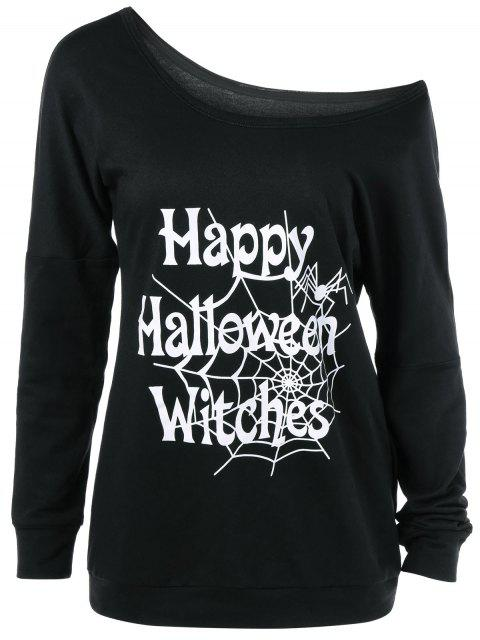 outfit Skew Collar Happy Halloween Witches T-Shirt - BLACK XL Mobile