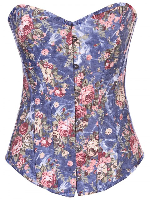 women Denim Floral  Back Lace Up Corset - DENIM BLUE S Mobile