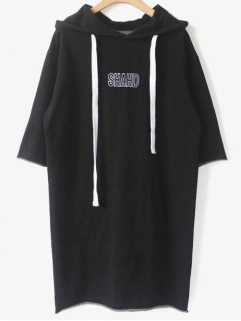 womens Shahd Embroidered Pullover Hoodie Dress - BLACK ONE SIZE Mobile