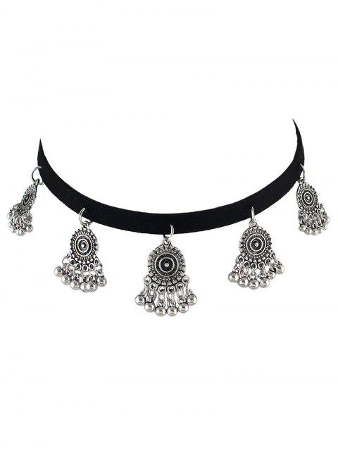 fashion PU Leather Velvet Alloy Circle Choker - SILVER  Mobile
