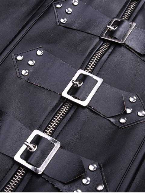 chic Artificial Leather Halter Cupless Corset - BLACK L Mobile