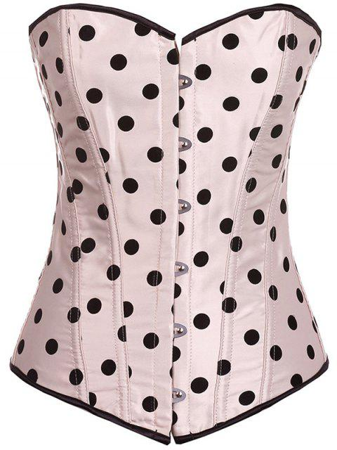 buy Lace Up Polka Dot  Corset - APRICOT S Mobile