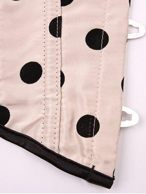 fancy Lace Up Polka Dot  Corset - APRICOT 2XL Mobile