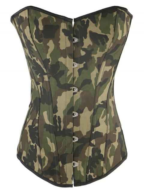 trendy Steel Boned Camo Lace Up Corset - CAMOUFLAGE S Mobile