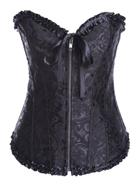 shop Retro Zipped Lace Up Corset - BLACK 3XL Mobile