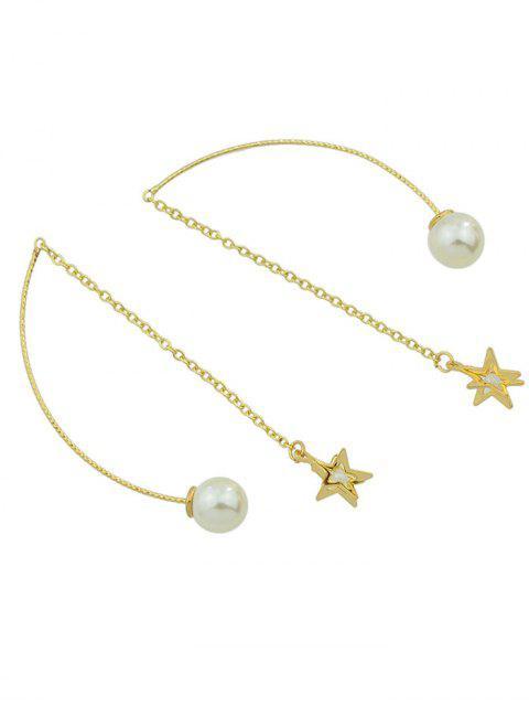 Boucles d'oreilles en chaîne à pandentifs de perles artificielles et d'étoile - Or  Mobile