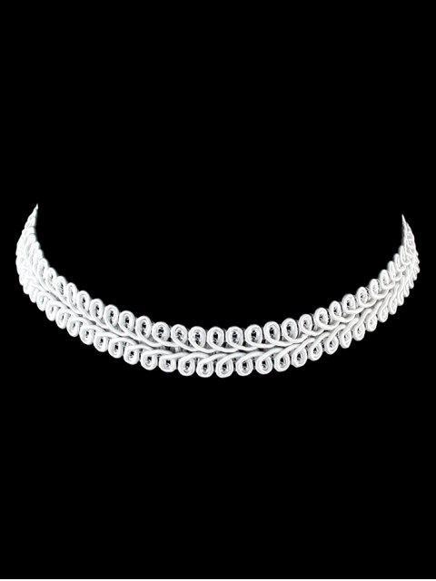 Braid Velvet Blatt Choker - Weiß  Mobile