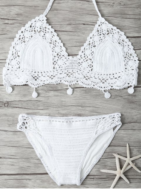 fashion Mesh Crocheted Bikini - WHITE S Mobile