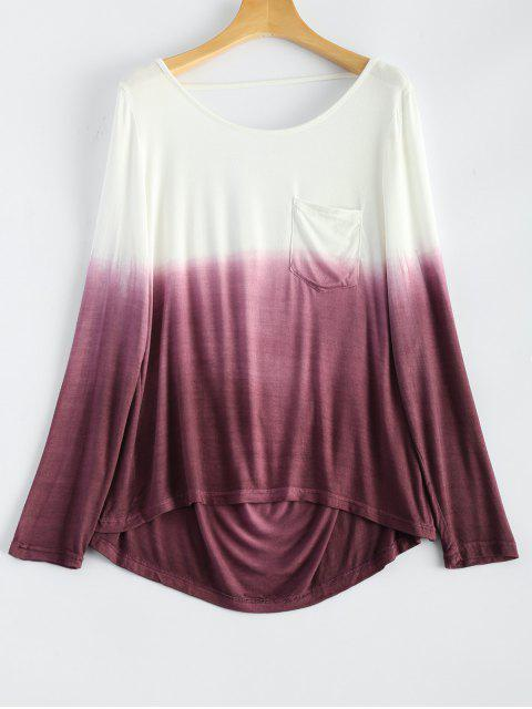 hot Ombre Backless T-Shirt - RED WITH WHITE L Mobile