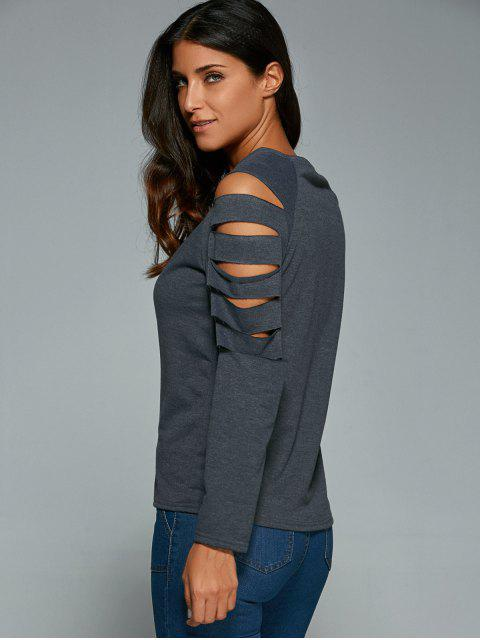 women Cut Out Fitting T-Shirt - GRAY S Mobile