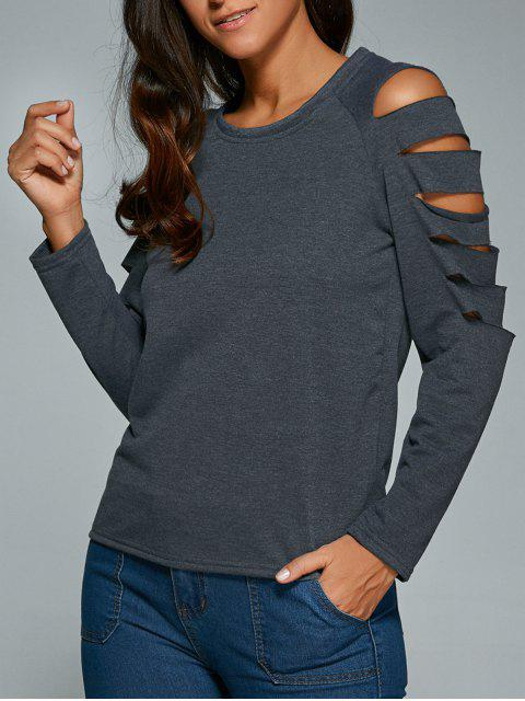 womens Cut Out Fitting T-Shirt - GRAY M Mobile