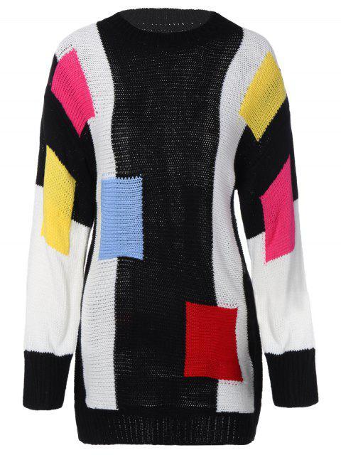 online Color Block Longline Sweater - BLACK ONE SIZE Mobile