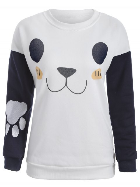 shop Cute Print Color Block Sweatshirt - WHITE XL Mobile