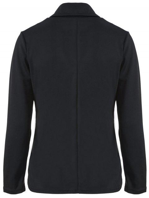 fashion Folded Zippered Asymmetric Jacket - BLACK XL Mobile