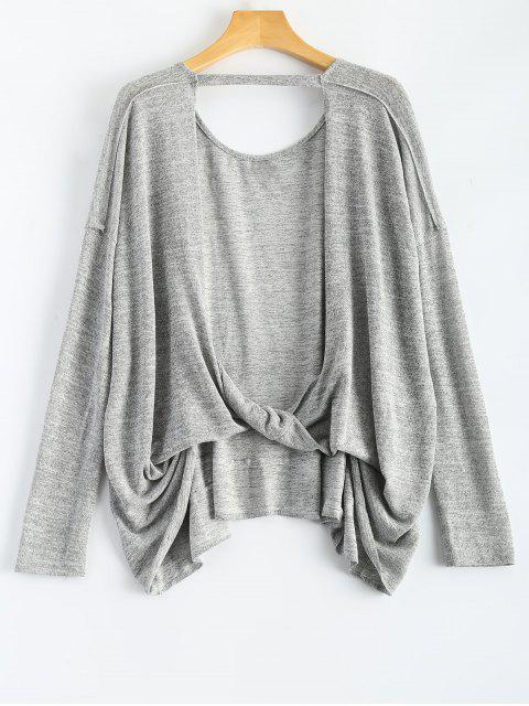 unique Back Cutout Long Sleeve T-Shirt - GRAY S Mobile