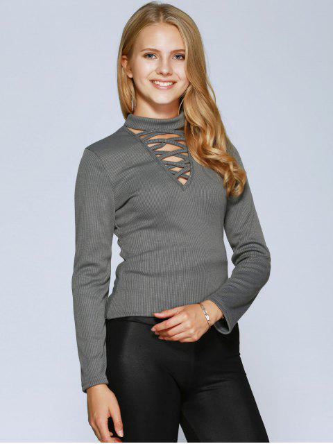 latest Lacing Choker Top - GRAY M Mobile