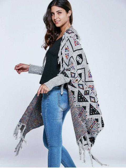 chic Jacquard Knit Tassels Dolman Cardigan - GRAY ONE SIZE Mobile