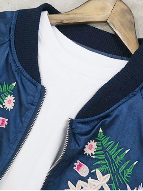 shops Stand Collar Floral Embroidered Jacket - PINK ONE SIZE Mobile