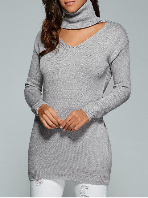 Turtleneck Choker Pullover - Grau Eine Größe Mobile