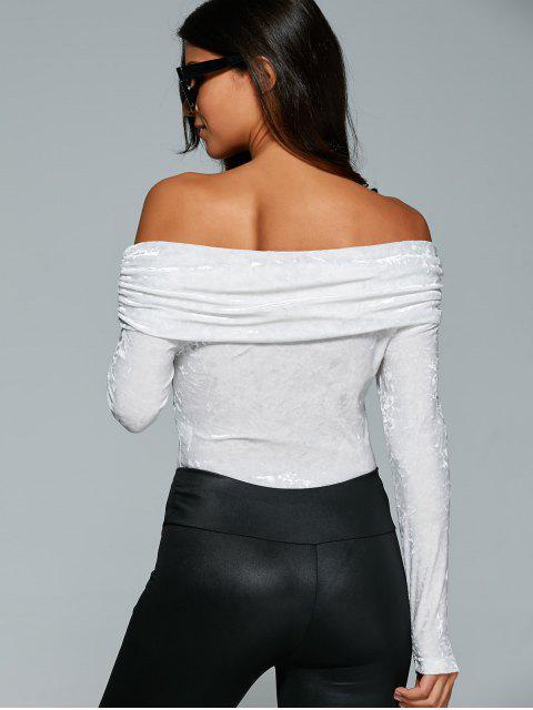 fashion Off The Shoulder Velvet Bodysuit - WHITE S Mobile
