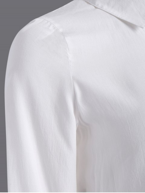 best Side Slit Casual Shirt - WHITE M Mobile