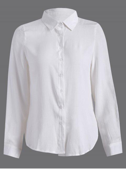 chemise à manches longues avec fente à côté - Blanc M Mobile