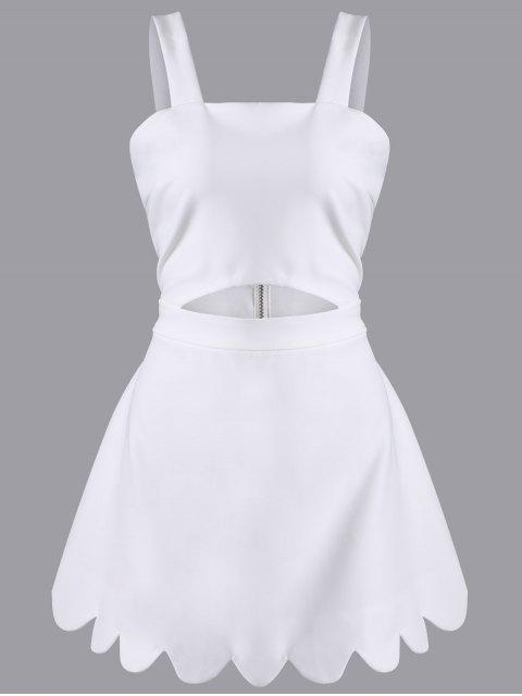 trendy Cut Out Scalloped A-Line Dress - WHITE S Mobile