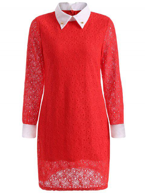 ladies Beaded Flat Collar Spliced Lace Dress - RED S Mobile