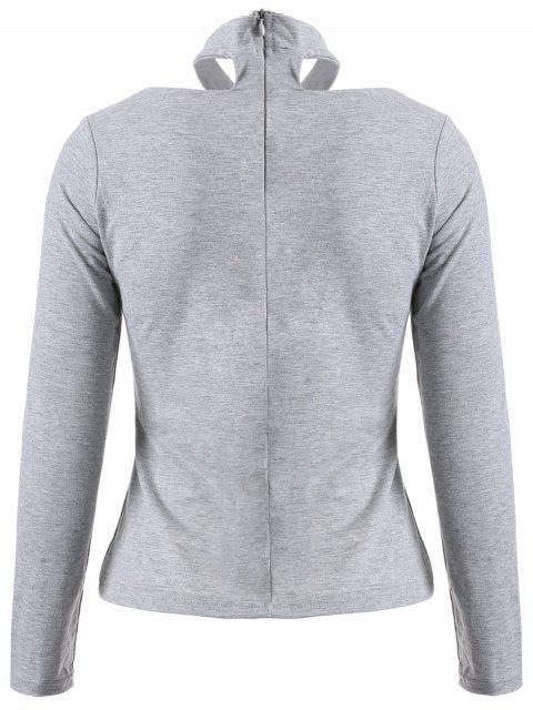 lady Long Sleeved Choker T-Shirt - GRAY M Mobile