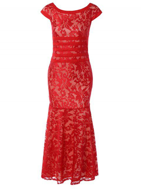 affordable Maxi Lace Bodycon Dress - RED M Mobile