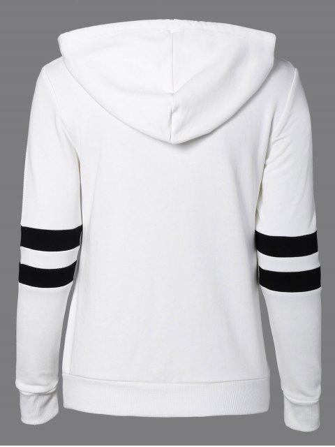 online Sports Color Block Hoodie - WHITE L Mobile