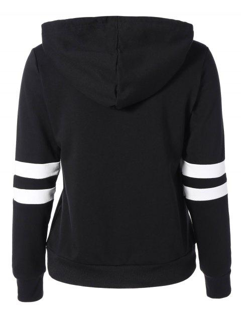 fashion Sports Color Block Hoodie - BLACK S Mobile