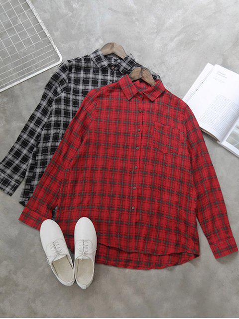 Shirt-Ausschnitt-kariertes Hemd - Rot Eine Größe Mobile