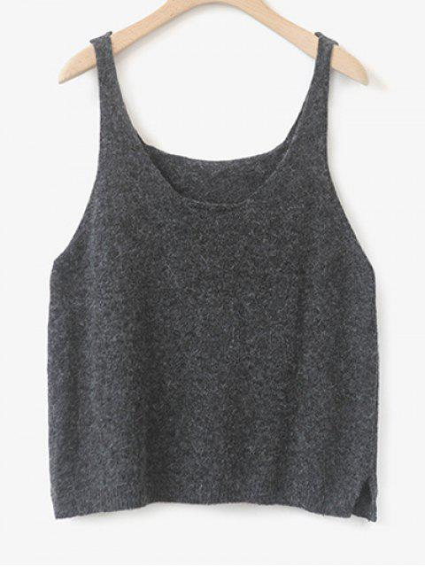 ladies Side Furcal Knitted Vest - DEEP GRAY ONE SIZE Mobile