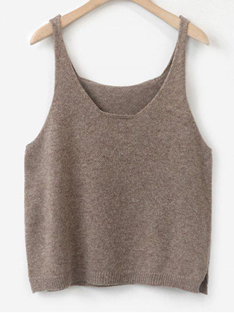 online Side Furcal Knitted Vest - COFFEE ONE SIZE Mobile