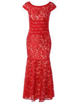 Maxi Vestido Ceñido Con Encaje - Rojo M