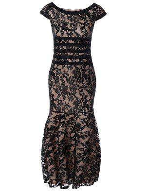 Maxi Lace Bodycon Dress - Black 2xl