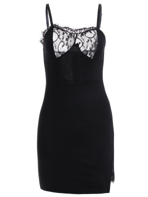 Vestido Ceñido De Tirante Fino Con Empalme De Encaje - Negro S