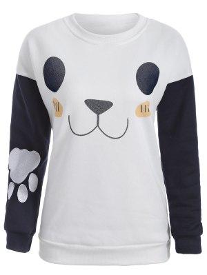 Cute Print Color Block Sweatshirt - White Xl
