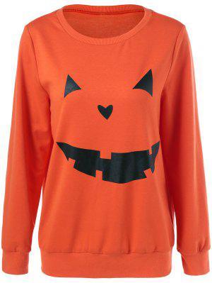 Halloween Grimace Print Sweatshirt - Luminous Orange S