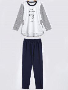 Striped Letter Print High Low Pajama Set - White M