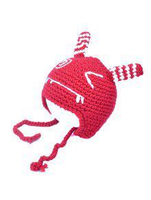 الدافئة الحيوان شكل الأذن والعين الكروشيه تصميم الاطفال حك قبعة - أحمر