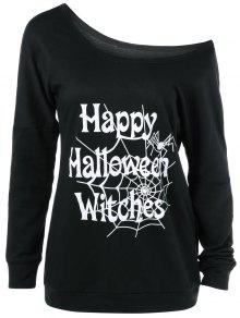 Skew Collar Happy Halloween Witches T-Shirt - Black Xl