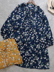 Hasta Vestido De Delantal Pequeña Cordón Floral - Azul Purpúreo