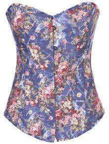 Denim Floral  Back Lace Up Corset - Denim Blue S