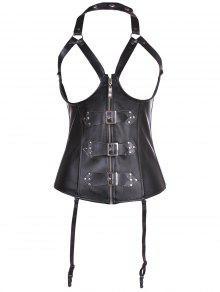 Artificial Leather Halter Cupless Corset - Black L