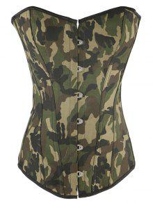 Steel Boned Camo Lace Up Corset - Camouflage 3xl