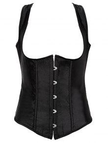 Lace Up Corset With G-String - Black 6xl